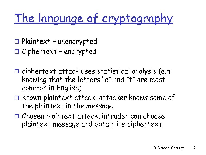 The language of cryptography r Plaintext – unencrypted r Ciphertext – encrypted r ciphertext