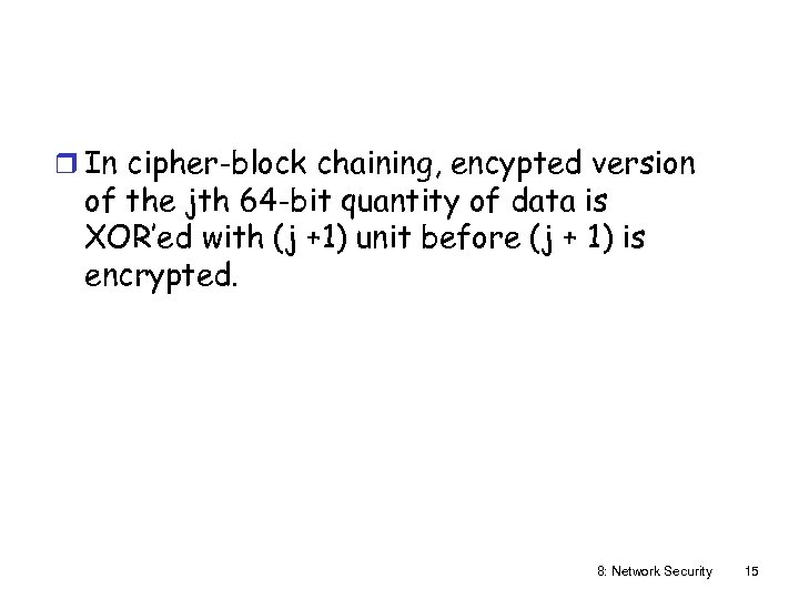 r In cipher-block chaining, encypted version of the jth 64 -bit quantity of data
