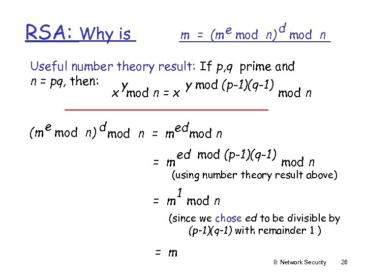 RSA: m = (m e mod n) Why is d mod n Useful number