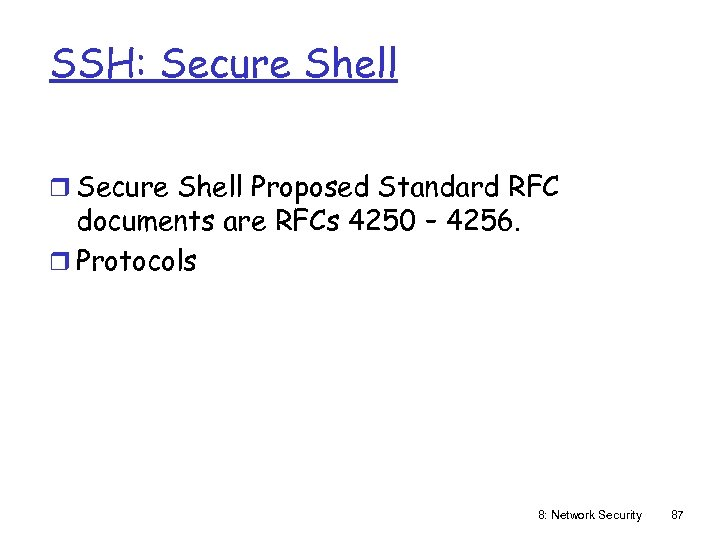 SSH: Secure Shell r Secure Shell Proposed Standard RFC documents are RFCs 4250 –