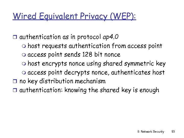Wired Equivalent Privacy (WEP): r authentication as in protocol ap 4. 0 m host