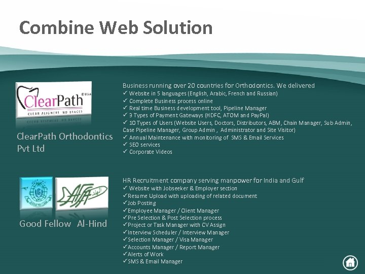 Combine Web Solution Business running over 20 countries for Orthodontics. We delivered Clear. Path