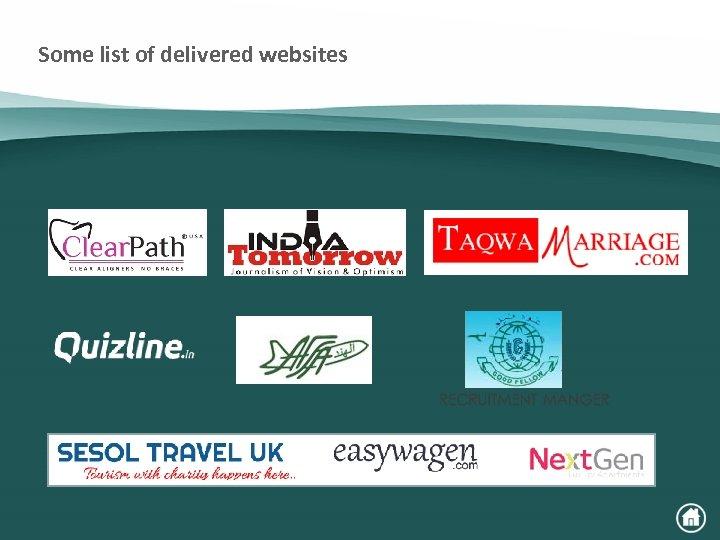 Some list of delivered websites