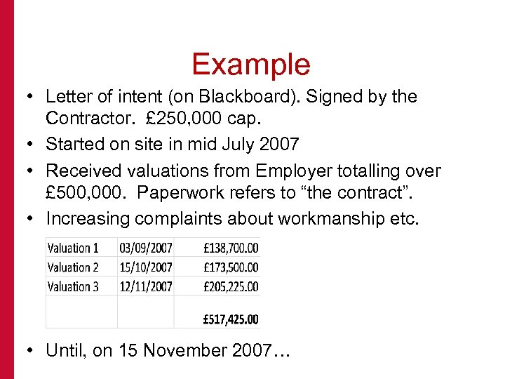 Example • Letter of intent (on Blackboard). Signed by the Contractor. £ 250, 000