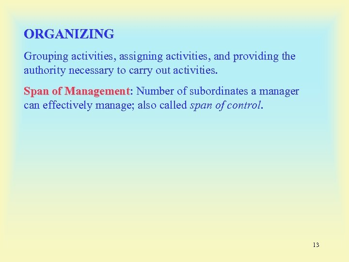 ORGANIZING Grouping activities, assigning activities, and providing the authority necessary to carry out activities.