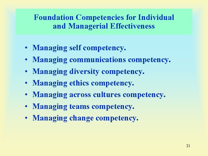 Foundation Competencies for Individual and Managerial Effectiveness • • Managing self competency. Managing communications