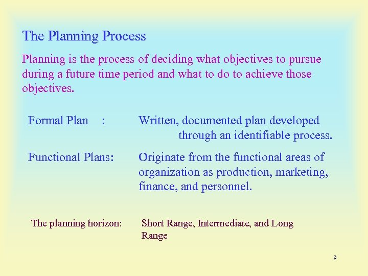 The Planning Process Planning is the process of deciding what objectives to pursue during