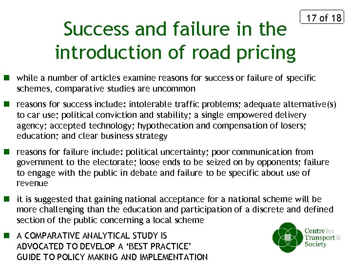 Success and failure in the introduction of road pricing 17 of 18 n while