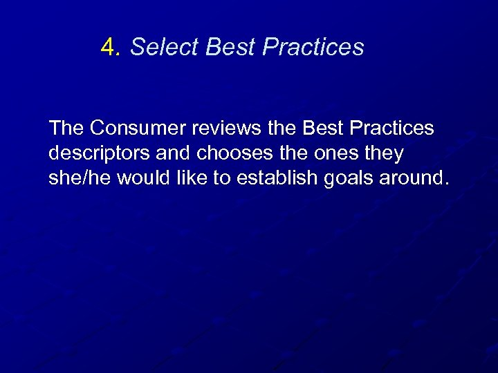 4. Select Best Practices The Consumer reviews the Best Practices descriptors and chooses the