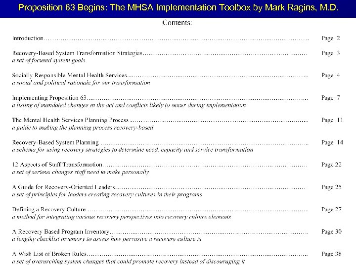 Proposition 63 Begins: The MHSA Implementation Toolbox by Mark Ragins, M. D.