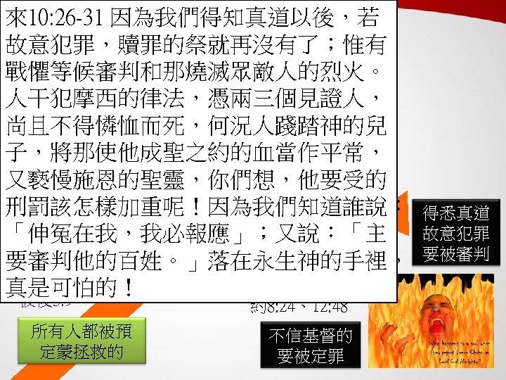 以弗所書 1: 4 -6 來10: 26 -31 因為我們得知真道以後,若 故意犯罪,贖罪的祭就再沒有了;惟有 戰懼等候審判和那燒滅眾敵人的烈火。 人干犯摩西的律法,憑兩三個見證人, 羅3: 26、5: 9