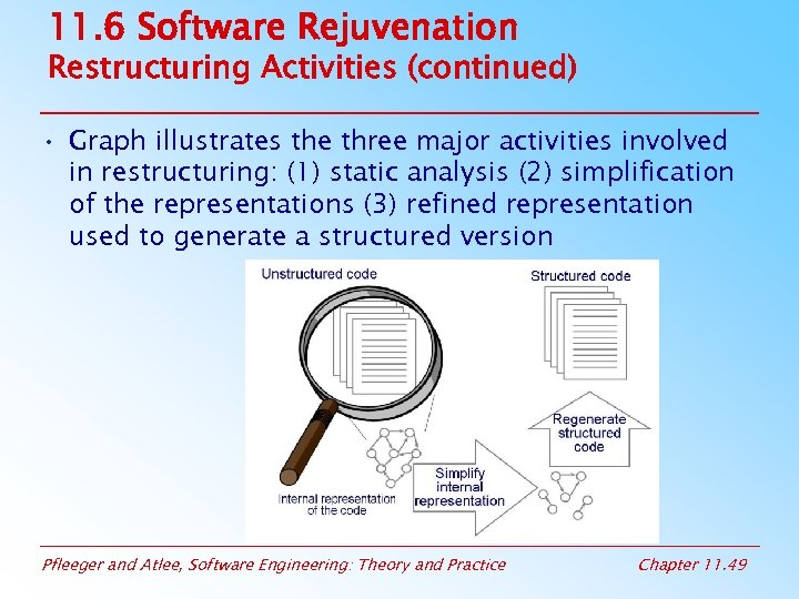 11. 6 Software Rejuvenation Restructuring Activities (continued) • Graph illustrates the three major activities