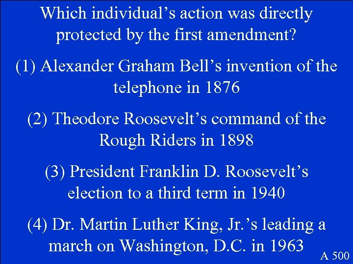 Which individual's action was directly protected by the first amendment? (1) Alexander Graham Bell's