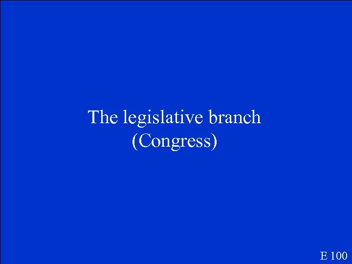 The legislative branch (Congress) E 100