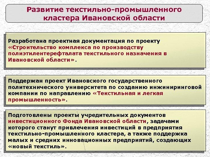Развитие текстильно-промышленного кластера Ивановской области Разработана проектная документация по проекту «Строительство комплекса по производству