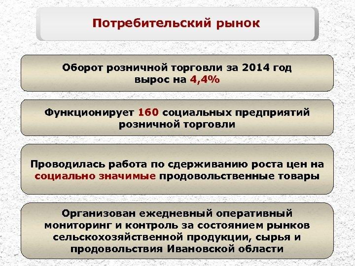 Потребительский рынок Оборот розничной торговли за 2014 год вырос на 4, 4% Функционирует 160