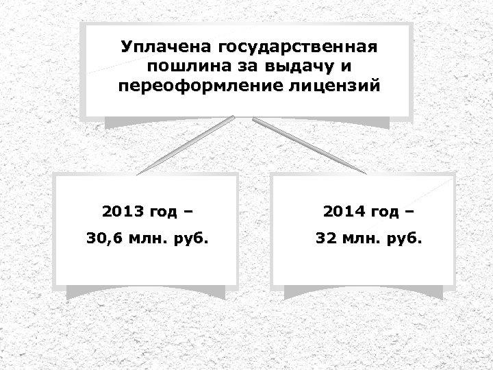Уплачена государственная пошлина за выдачу и переоформление лицензий 2013 год – 2014 год –