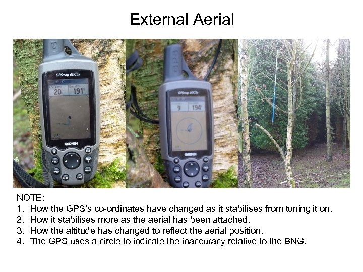 External Aerial NOTE: 1. How the GPS's co-ordinates have changed as it stabilises from