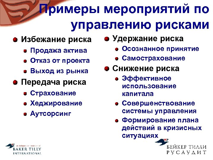 Примеры мероприятий по управлению рисками Избежание риска Продажа актива Отказ от проекта Выход из