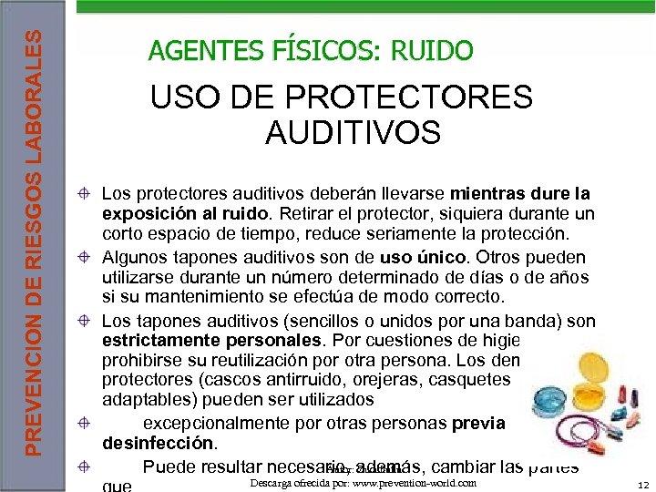 PREVENCION DE RIESGOS LABORALES AGENTES FÍSICOS: RUIDO USO DE PROTECTORES AUDITIVOS Los protectores auditivos