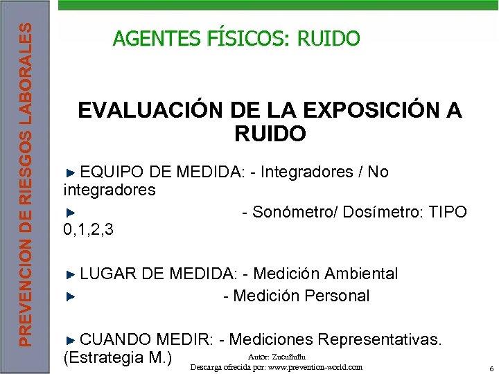 PREVENCION DE RIESGOS LABORALES AGENTES FÍSICOS: RUIDO EVALUACIÓN DE LA EXPOSICIÓN A RUIDO EQUIPO