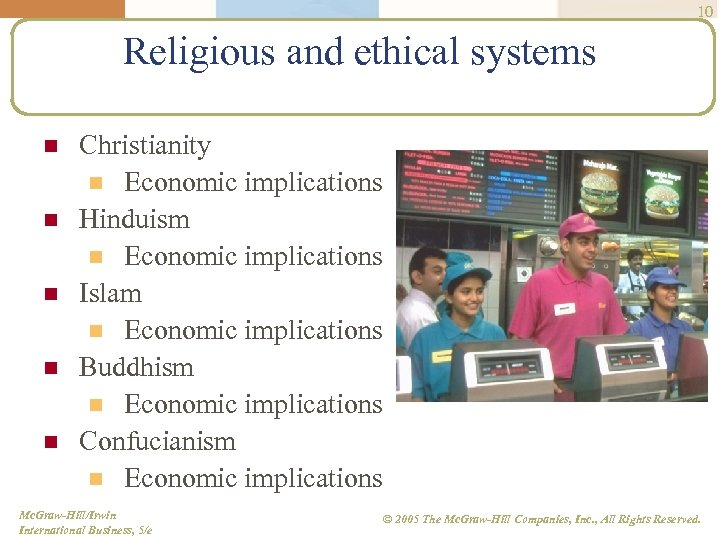 10 Religious and ethical systems n n n Christianity n Economic implications Hinduism n