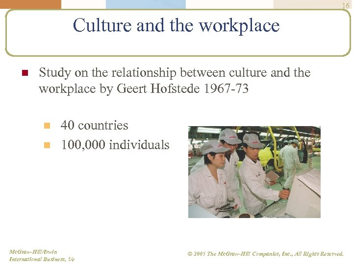16 Culture and the workplace n Study on the relationship between culture and the