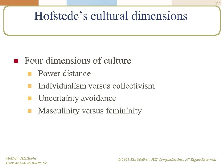 17 Hofstede's cultural dimensions n Four dimensions of culture n n Power distance Individualism