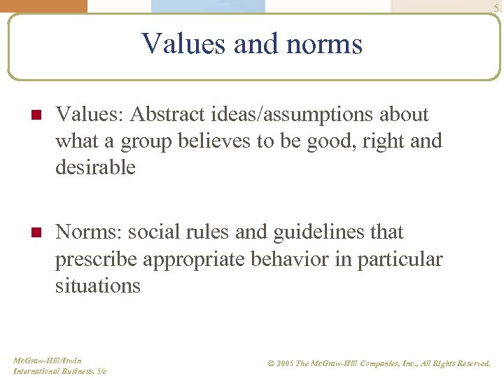 5 Values and norms n Values: Abstract ideas/assumptions about what a group believes to