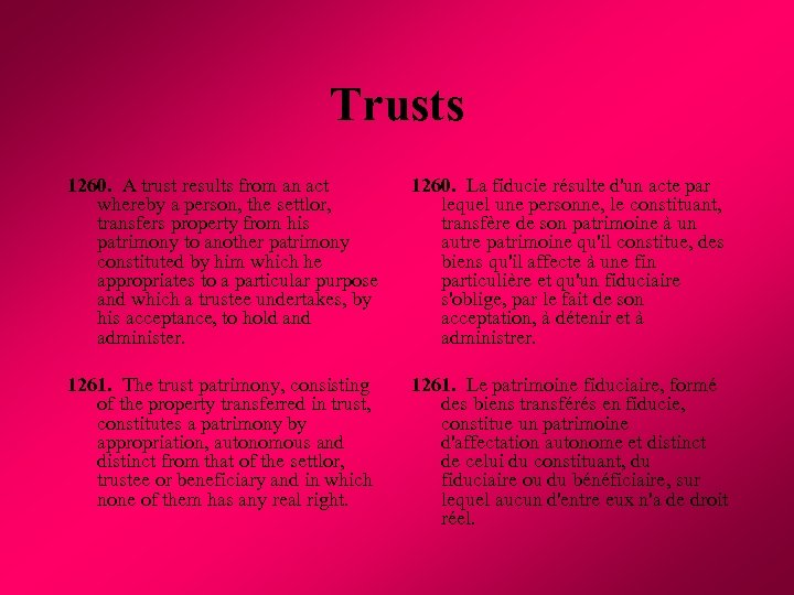 Trusts 1260. A trust results from an act whereby a person, the settlor, transfers