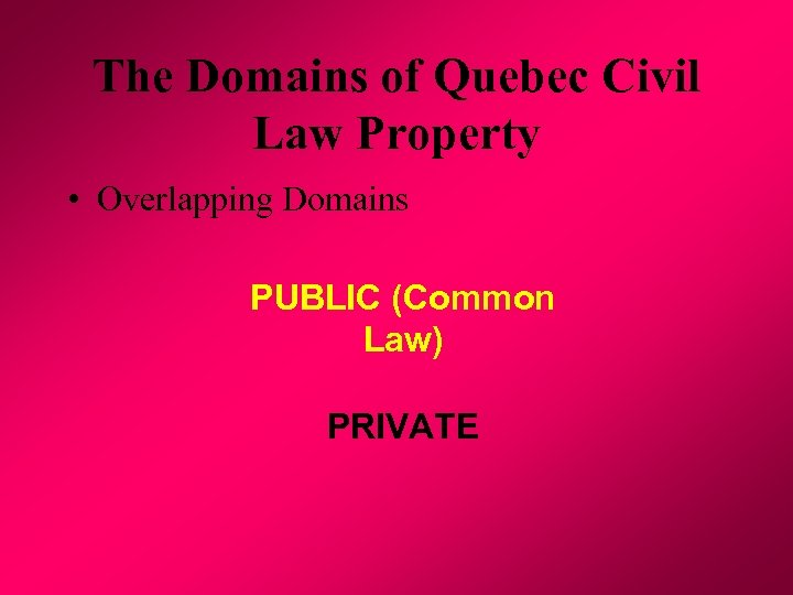 The Domains of Quebec Civil Law Property • Overlapping Domains PUBLIC (Common Law) PRIVATE