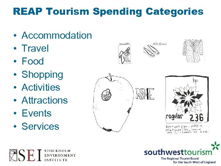 REAP Tourism Spending Categories • • Accommodation Travel Food Shopping Activities Attractions Events Services