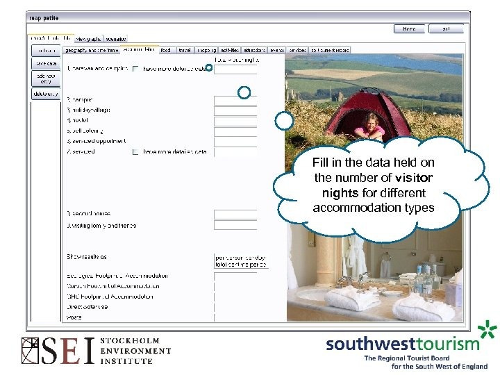Fill in the data held on the number of visitor nights for different accommodation