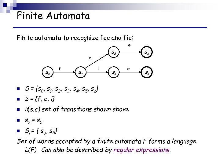 Finite Automata Finite automata to recognize fee and fie: e e S 0 f