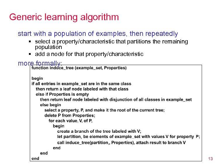 Generic learning algorithm start with a population of examples, then repeatedly § select a