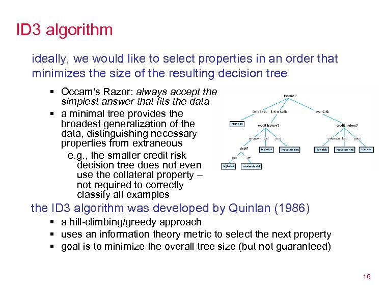 ID 3 algorithm ideally, we would like to select properties in an order that