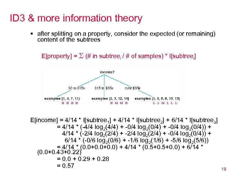 ID 3 & more information theory § after splitting on a property, consider the