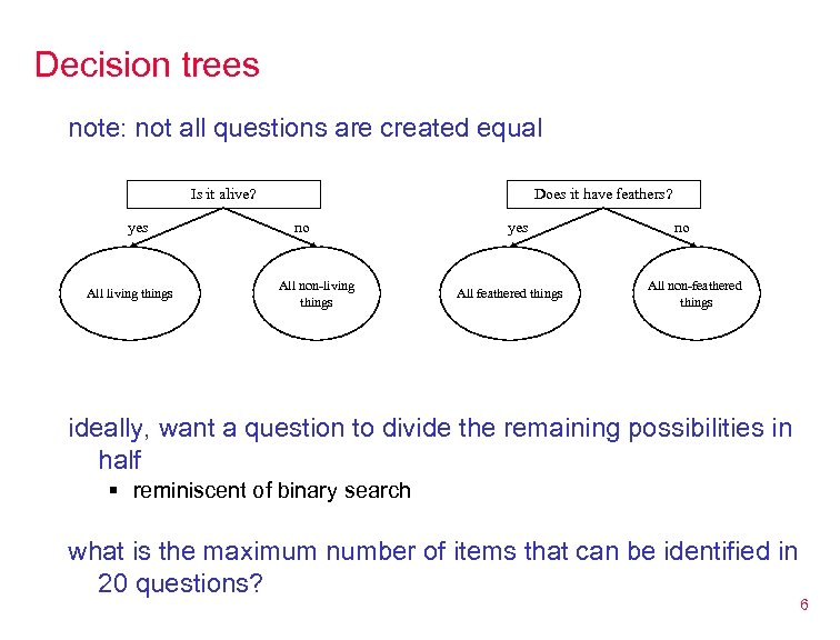 Decision trees note: not all questions are created equal Is it alive? yes All