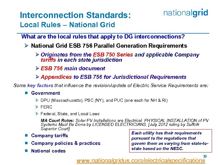 Interconnection Standards: Local Rules – National Grid What are the local rules that apply