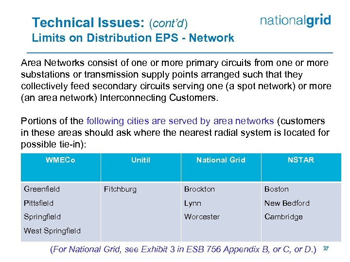 Technical Issues: (cont'd) Limits on Distribution EPS - Network Area Networks consist of one