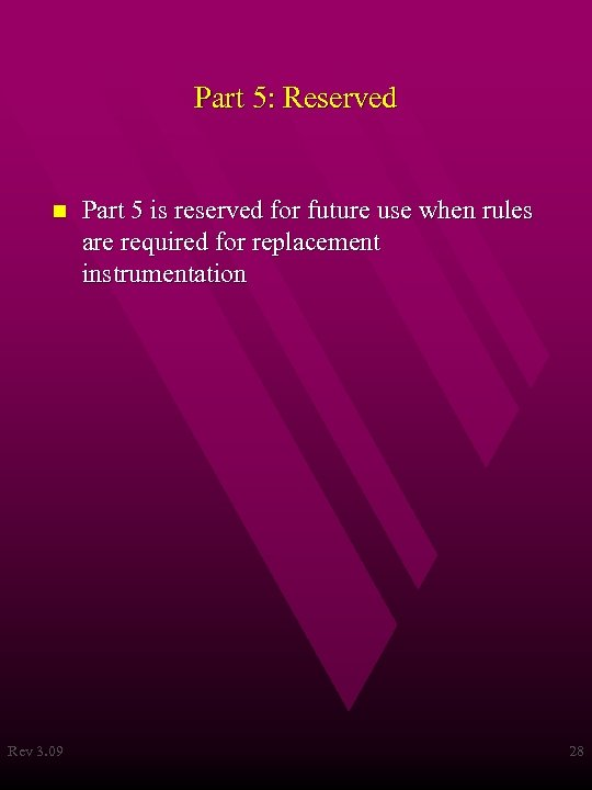 Part 5: Reserved n Rev 3. 09 Part 5 is reserved for future use