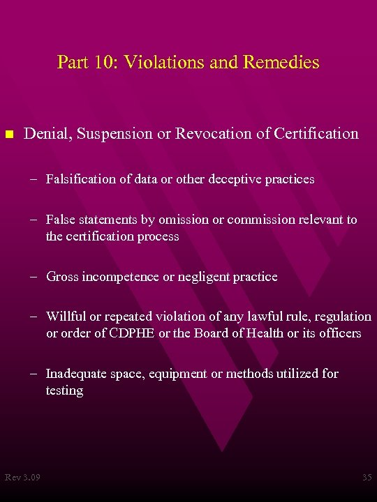 Part 10: Violations and Remedies n Denial, Suspension or Revocation of Certification – Falsification