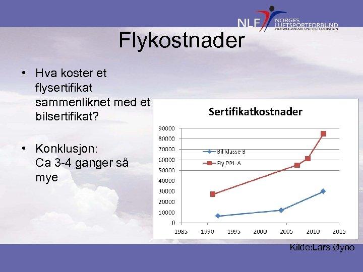 Flykostnader • Hva koster et flysertifikat sammenliknet med et bilsertifikat? • Konklusjon: Ca 3