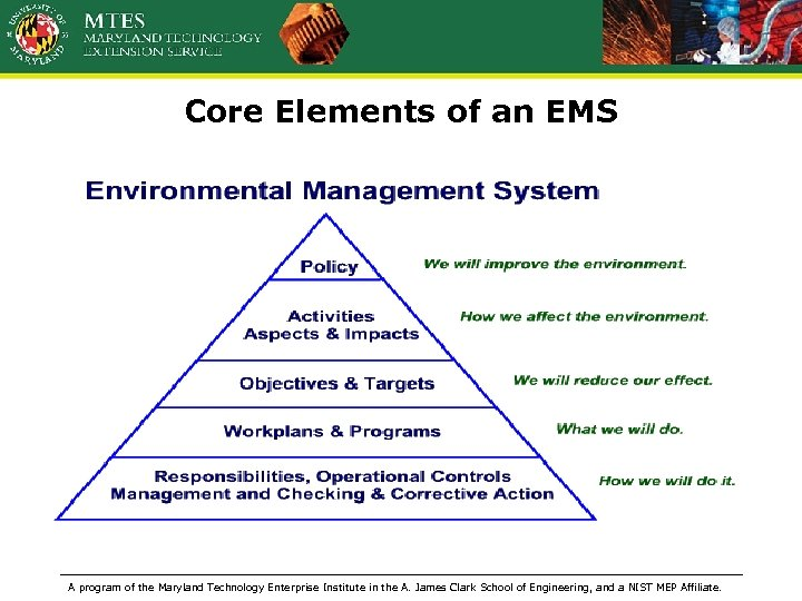 Core Elements of an EMS A program of the Maryland Technology Enterprise Institute in