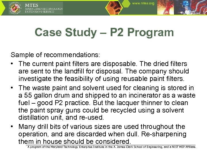 www. mtes. org Case Study – P 2 Program Sample of recommendations: • The