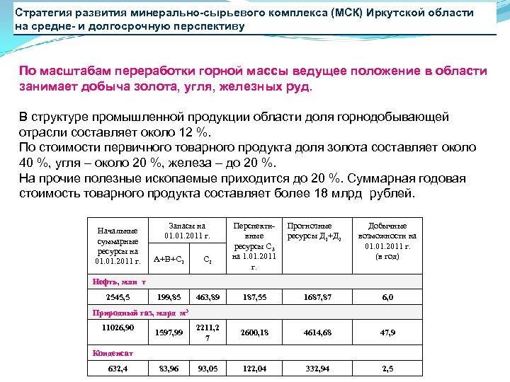 Стратегия развития минерально-сырьевого комплекса (МСК) Иркутской области на средне- и долгосрочную перспективу По масштабам