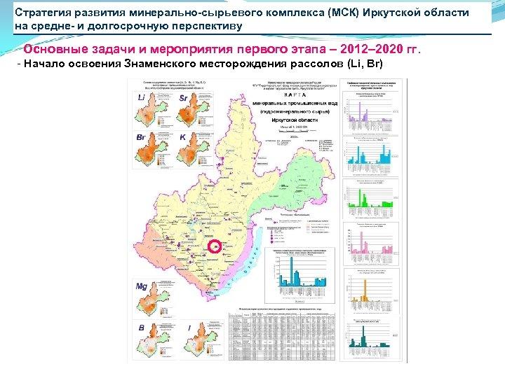 Стратегия развития минерально-сырьевого комплекса (МСК) Иркутской области на средне- и долгосрочную перспективу Основные задачи