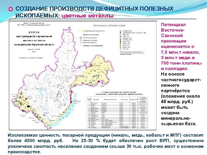 СОЗДАНИЕ ПРОИЗВОДСТВ ДЕФИЦИТНЫХ ПОЛЕЗНЫХ ИСКОПАЕМЫХ: цветные металлы Потенциал Восточно. Саянской провинции оценивается в 7,