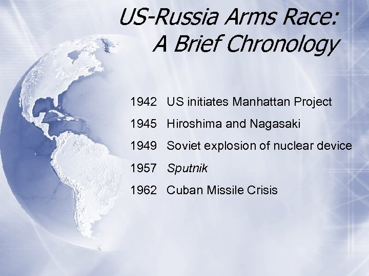 US-Russia Arms Race: A Brief Chronology 1942 US initiates Manhattan Project 1945 Hiroshima and