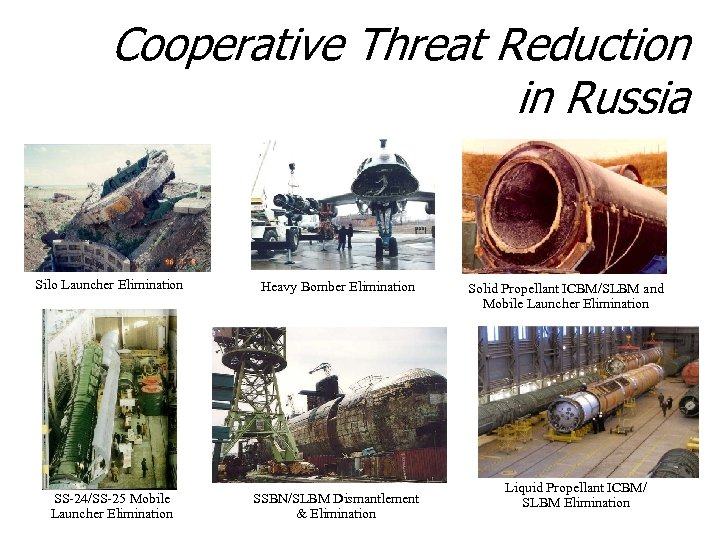 Cooperative Threat Reduction in Russia Silo Launcher Elimination Heavy Bomber Elimination SS-24/SS-25 Mobile Launcher